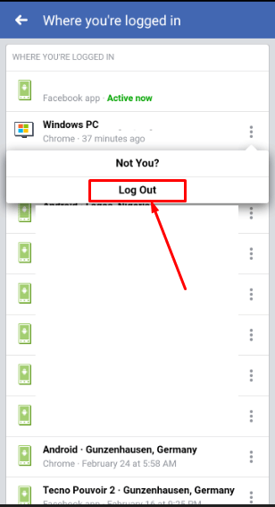 logout of facebook on mobile