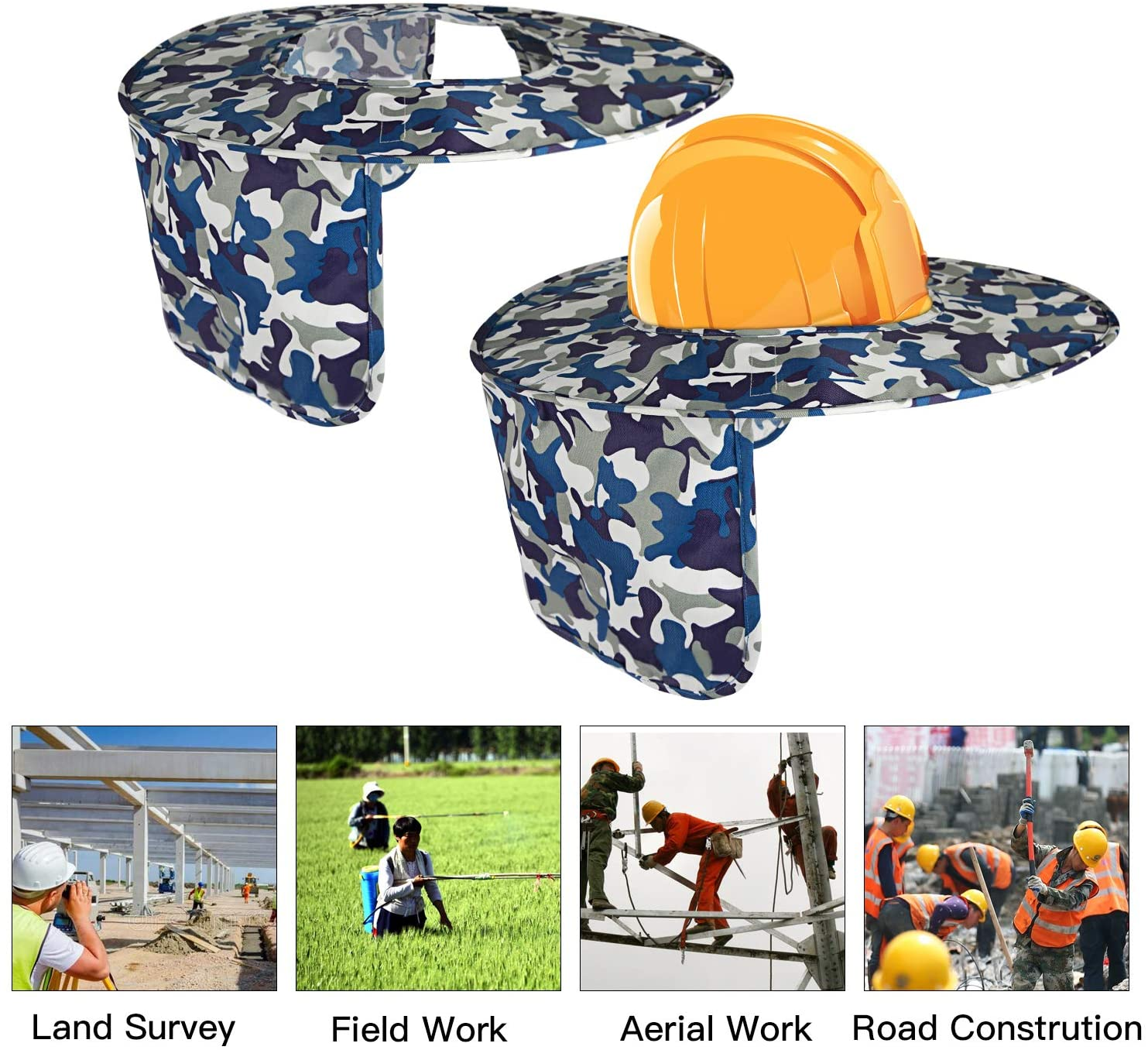 Hard Hat Visor And Neck Shade, House Full Brim Sun-shield Camouflage Polyester Sun Shade Protector for Hard Hats Helmets, One Size Fits Most (Camouflage)