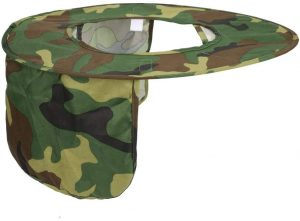 Hard Hat Visor And Neck Shade, Yhouse Full Brim Sunshield Camouflage Polyester Sun Shade Protector for Hard Hats Helmets,One Size Fits Most (Army Green)