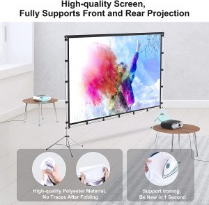 Projector Screen with Stand, Vamvo 120 inch Portable Foldable Projection Screen 16:9 HD 4K Indoor Outdoor Projector Movies Screen with Carrying Bag for Home...