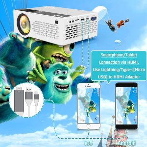 TMY Projector 6500 Lumen with 100 Inch Projector Screen, 1080P Full HD Supported Video Projector, Mini Movie Projector Compatible with TV Stick HDMI VGA USB TF AV, for Home Cinema & Outdoor Movie.
